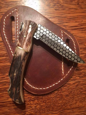 Stag Horn Handle Folding Knife with Stainless steel blade ( honey comb pattern)