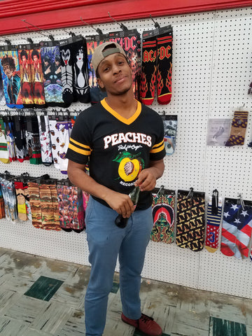 PEACHES UNISEX BLACK & GOLD SOCCER TEE