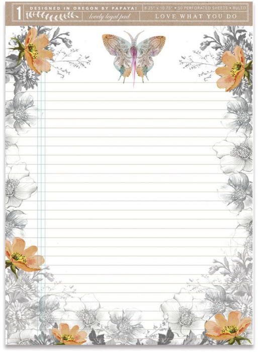PAISLEY BUTTERFLY LEGAL PAD