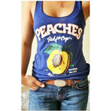PEACHES TRI-BLEND LADIES' BLUE TANK