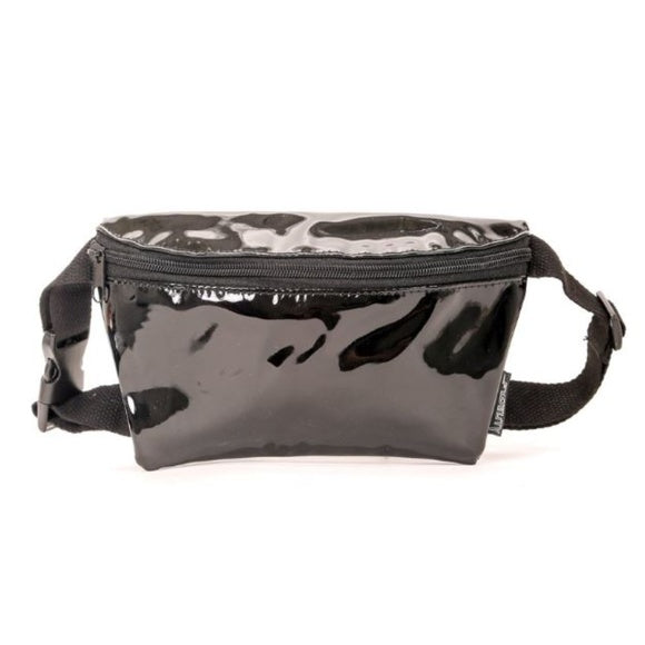 VEGAN PATENT LEATHER BLACK FANNY PACK