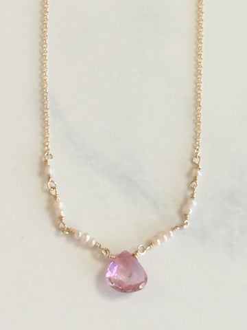 Pink Topaz & Pearl Ballerina Necklace