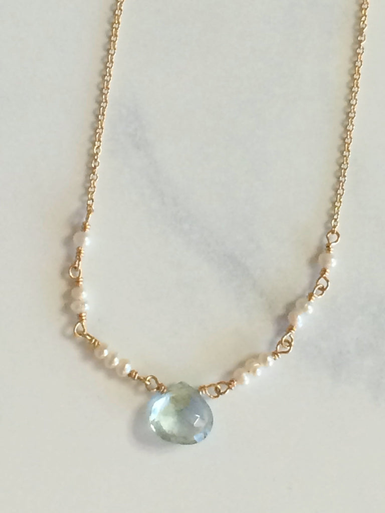 Blue Topaz & Pearl Ballerina Necklace