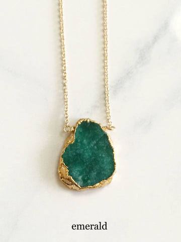 Free Form Necklace Emerald