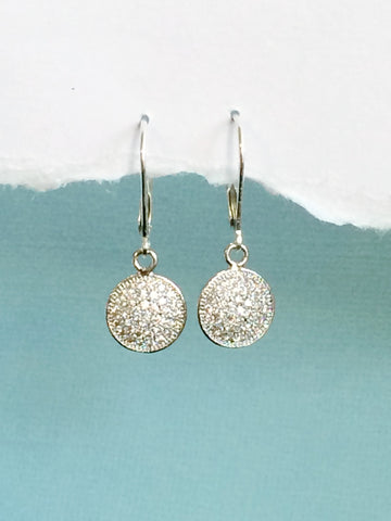 Crystal Disk Earrings silver