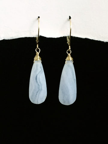 Blue Lace Agate Tear drop Earrings