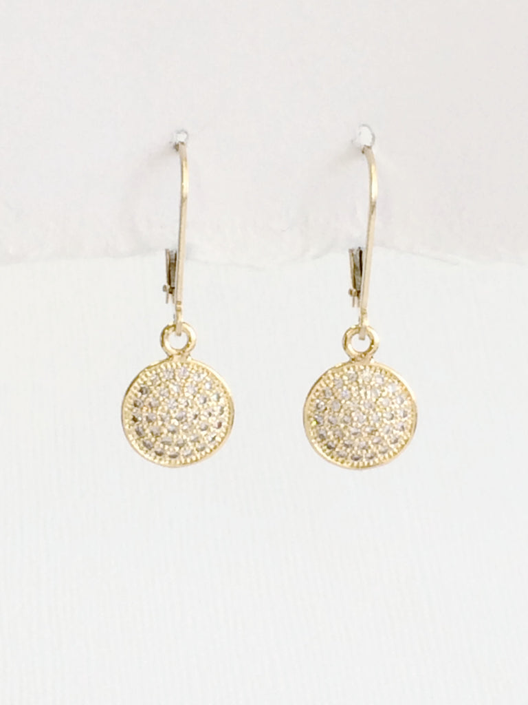 Crystal Disk Earrings gold