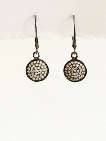 Crystal Disk Earrings Oxidized Sterling Silver