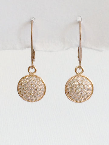 Crystal Disk Earrings Rose Gold