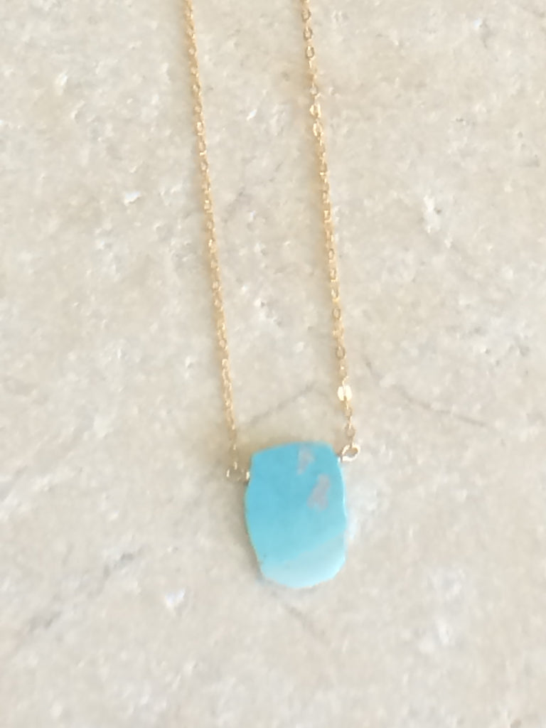Rough Turquoise Slice Necklace large