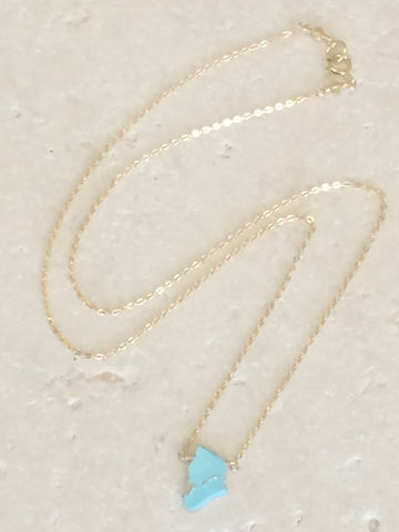 Rough Turquoise Slice Necklace small