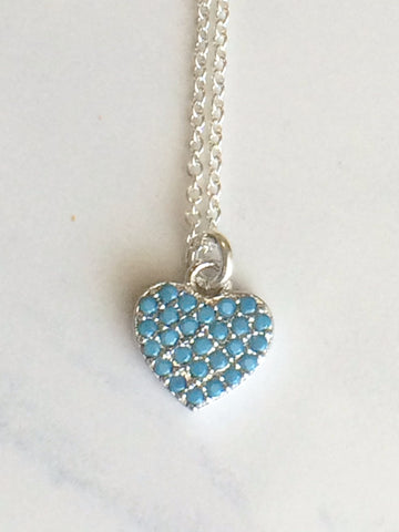 Turquoise Heart Necklace silver