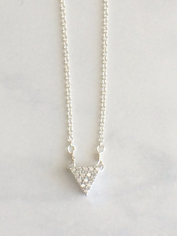 Sparkle Triangle Necklace silver
