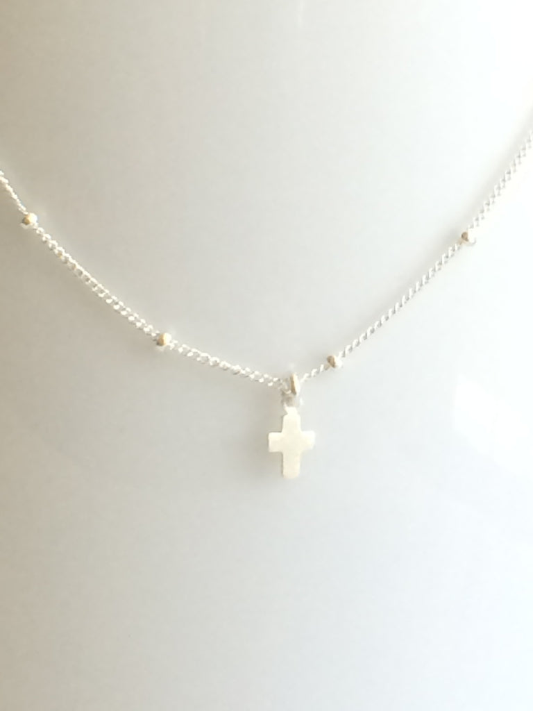 Tiny Cross Necklace silver