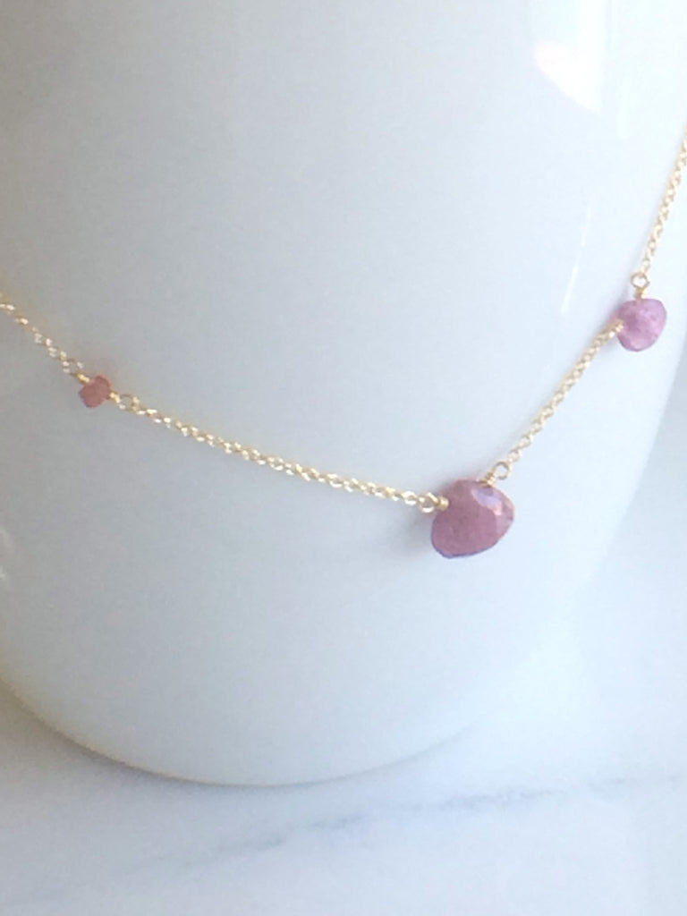Asymmetric Pink Sapphire Necklace