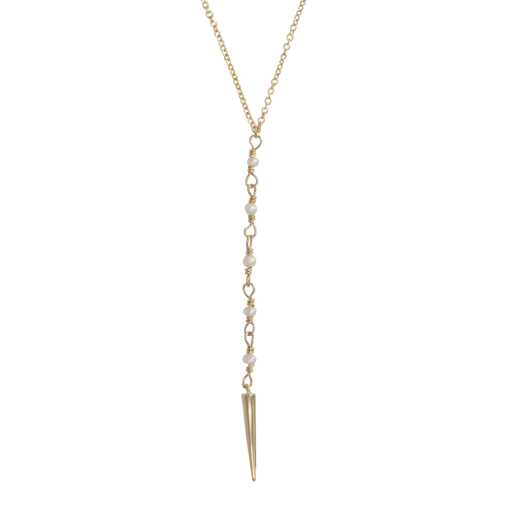 Pearl Lariat Spike Necklace