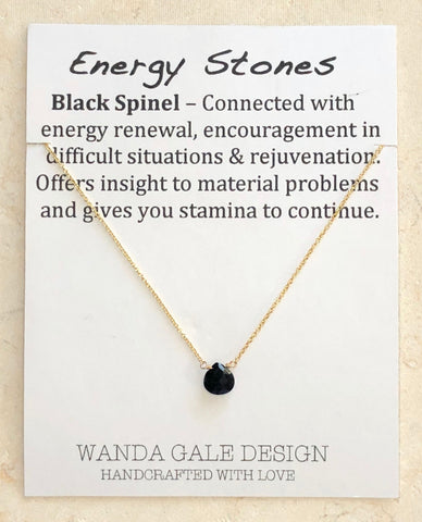 Energy stone necklace - Black Spinel