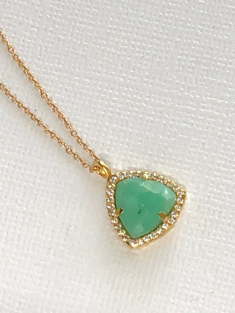 Chrysoprase Bezel Necklace