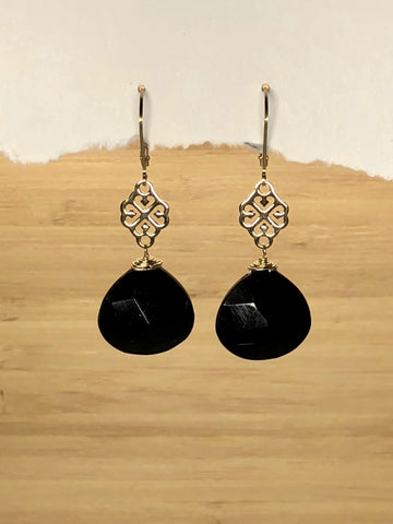Black Spinel filigree earrings