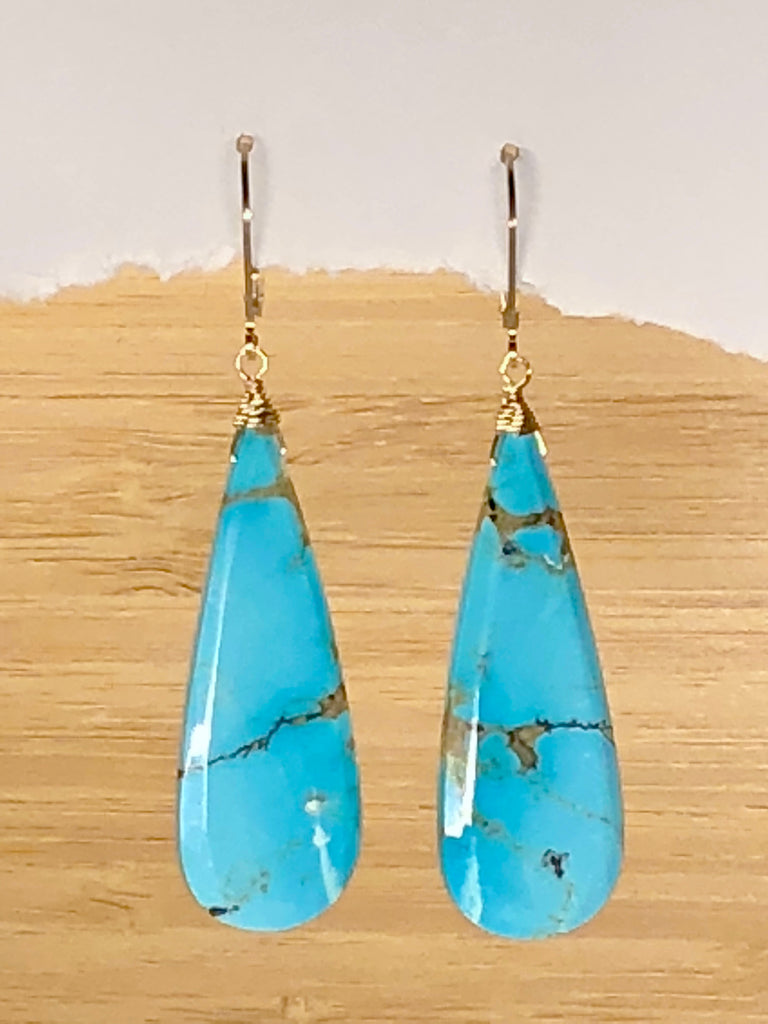 Large Turquoise Tear drop earrings