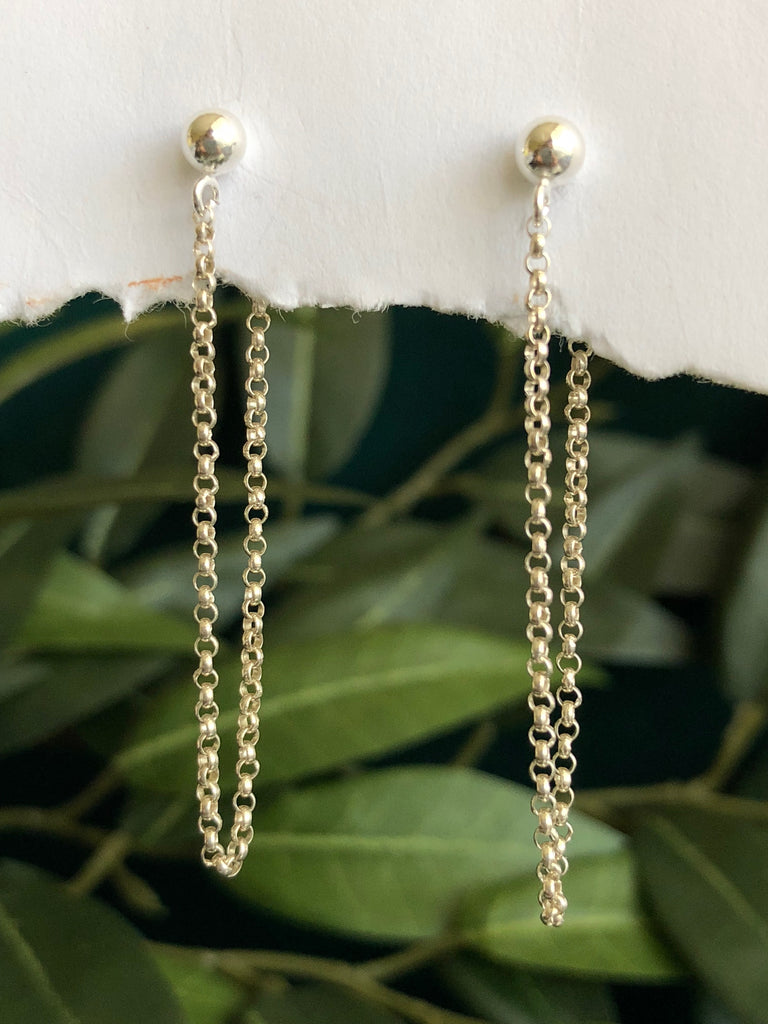 Silver chain stud earrings