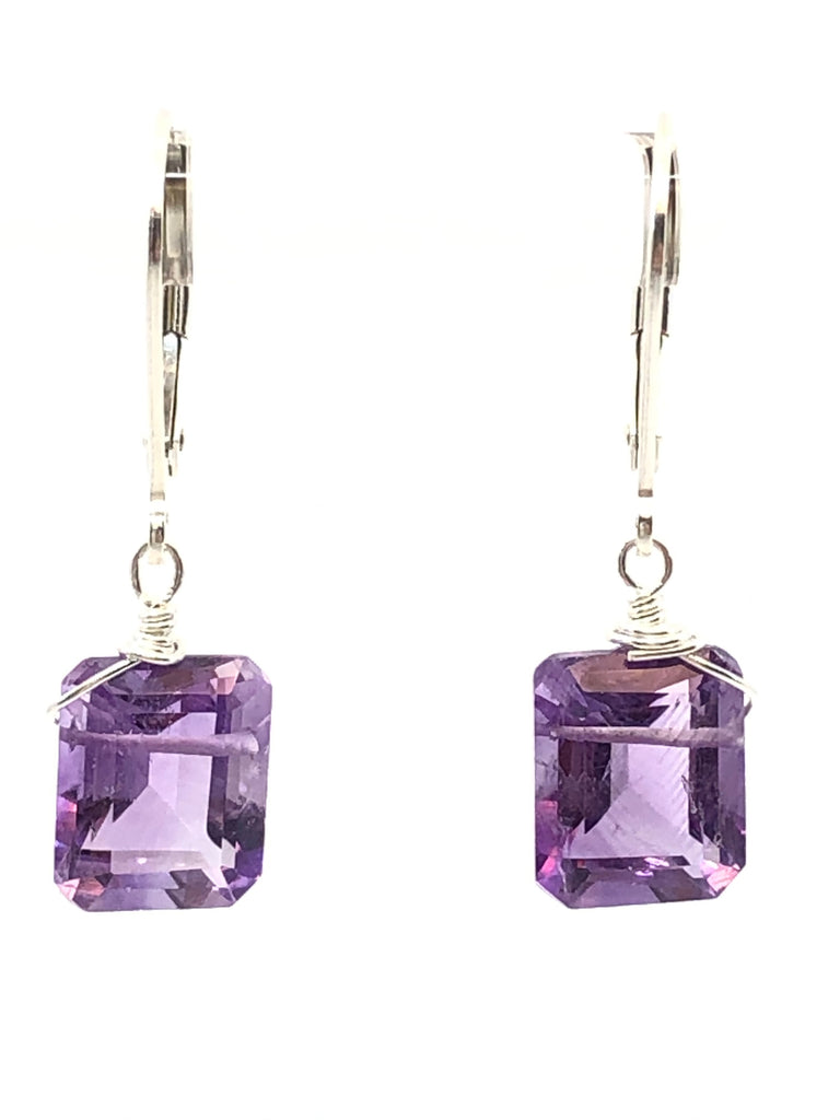 Emerald cut Amethyst earrings silver