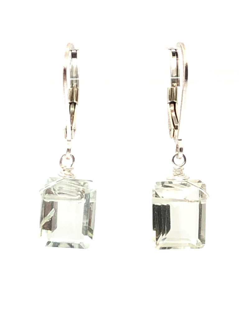 Emerald cut Green Amethyst earrings silver