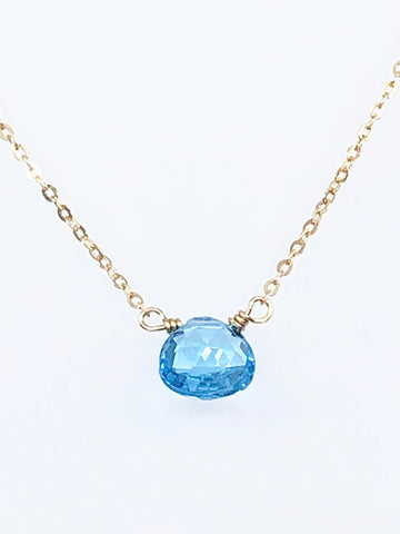 Simple Swiss Blue Topaz Necklace