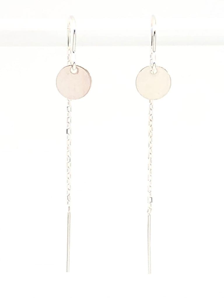 Silver Disk Threader Earrings