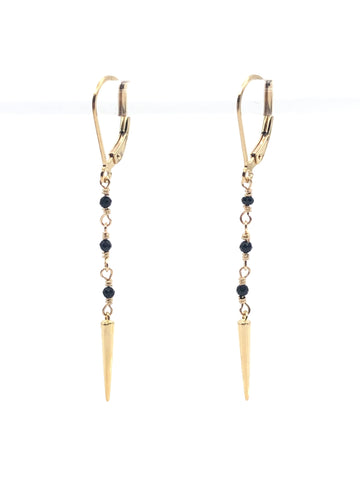 Black Spinel spike earrings gold fill