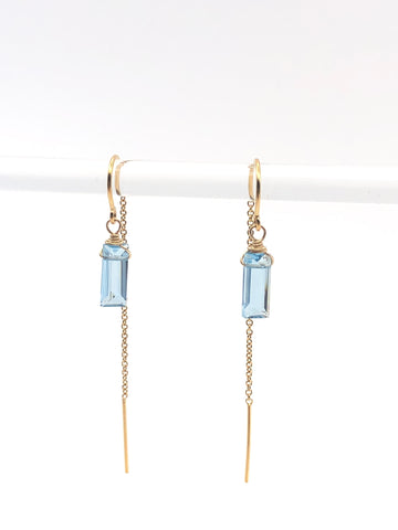 Blue Topaz Threader Earrings