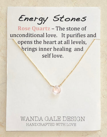 Energy stone necklace - Rose Quartz