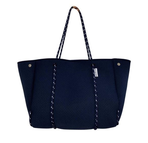 Navy Neoprene Tote with Pop Color Interior