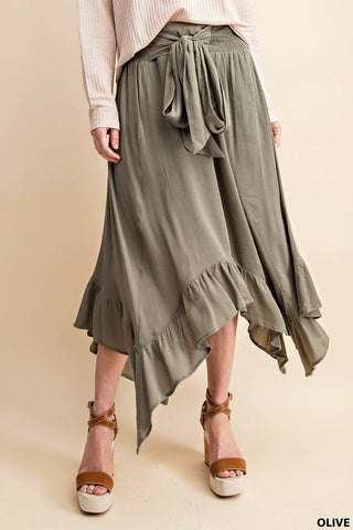 Olive Ruffled Midi Skirt