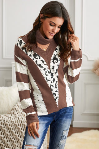 V Neck Brown Striped Sweater