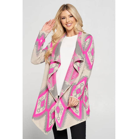 Tribal Cardigan in Hot Pink