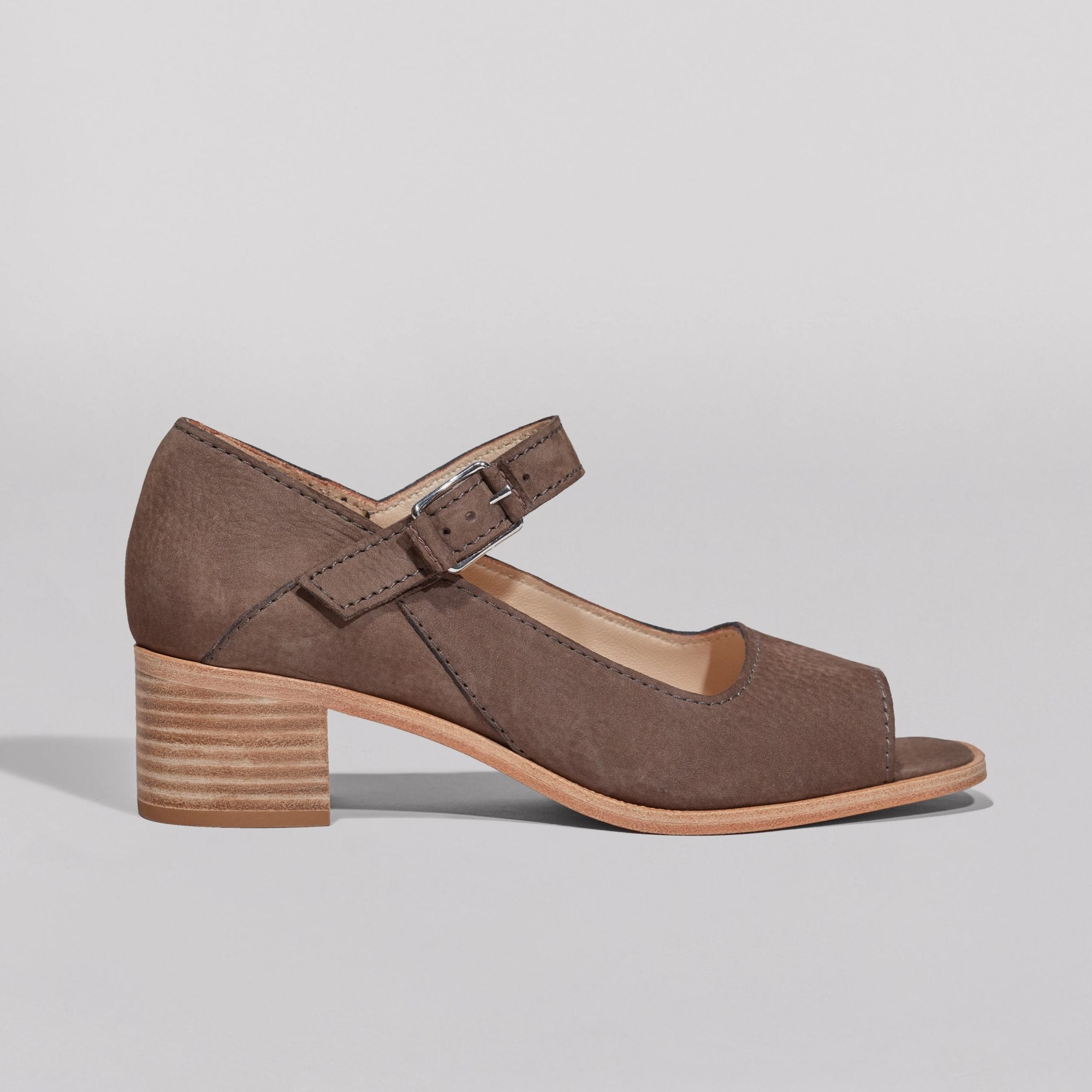 Wilder shoes - brown nubuck leather open-toe mary jane mid-heel women's sandal - Constance - wildershop.com - profile view
