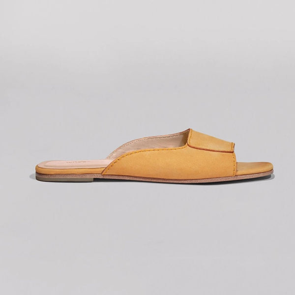 Wilder shoes - yellow nubuck leather women's slide sandal - maude - wildershop.com - profile view