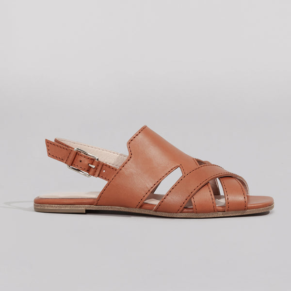 Wilder shoes - women's x-strap flat sandal in brown leather - profile view