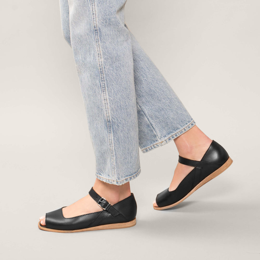 Wilder shoes - off-white leather open-toe mary jane women's sandal - Bettison - on-foot view
