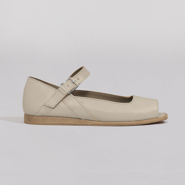 Wilder shoes - off-white leather open-toe mary jane women's sandal - Bettison - profile view