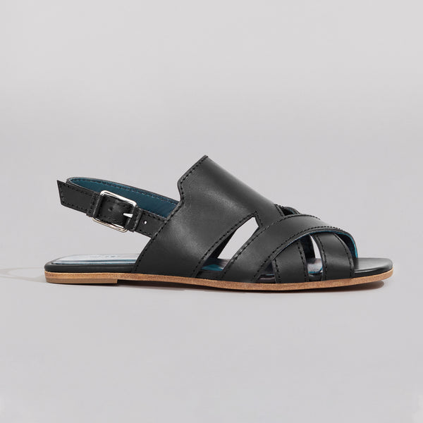 wilder shoes - black leather women's x-strap flat sandal - hazel - side view