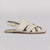 Wilder shoes - white leather women's x-strap flat sandal - hazel - side view
