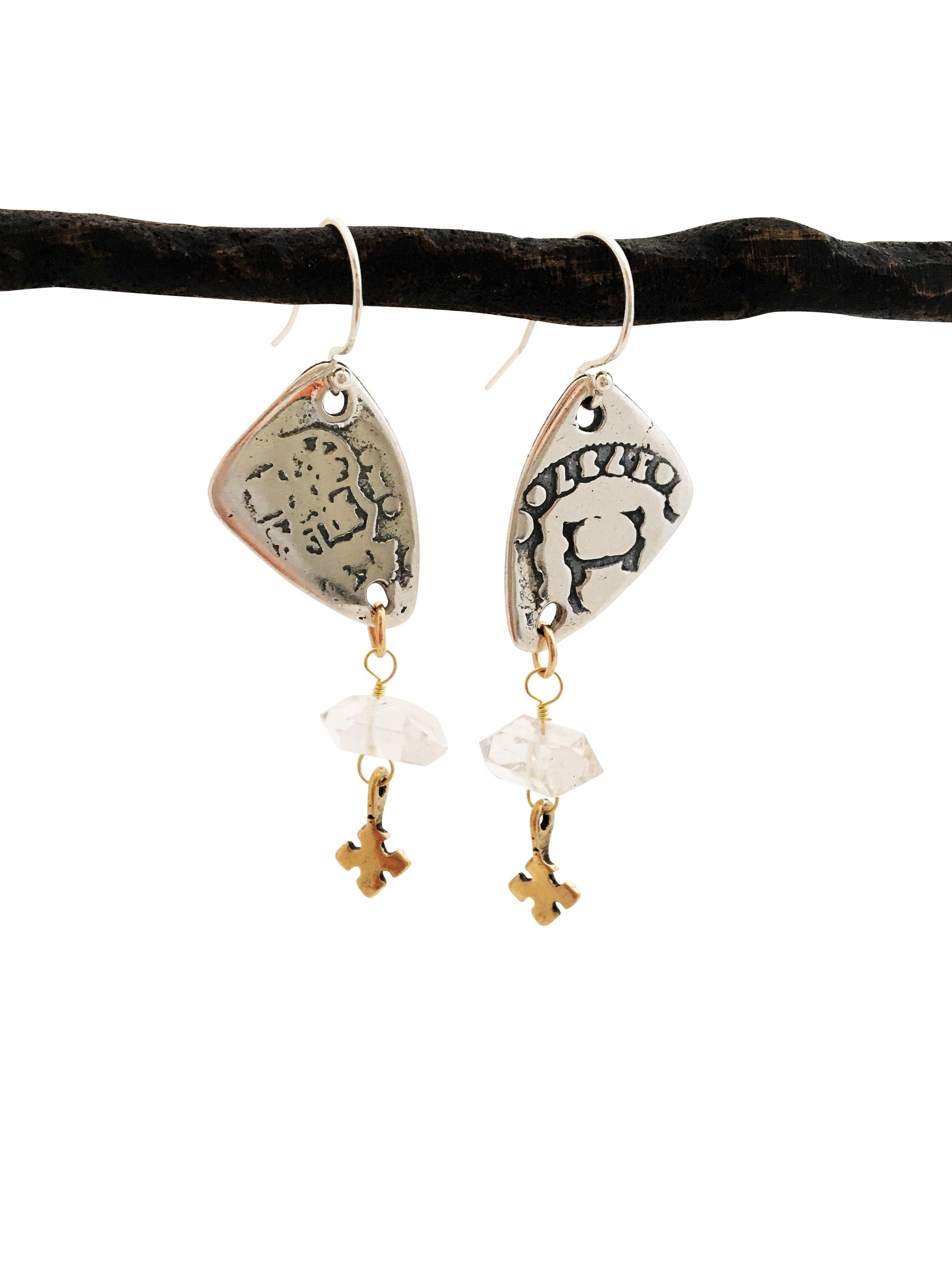 Sterling Pieces of Eight Quartz Earrings