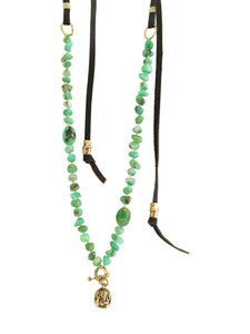 Hand Knotted Chrysoprase & Ganesha Necklace