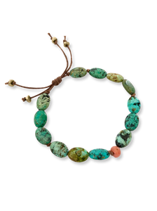 Hand Knotted Turquoise and Ancient Coral Bracelet