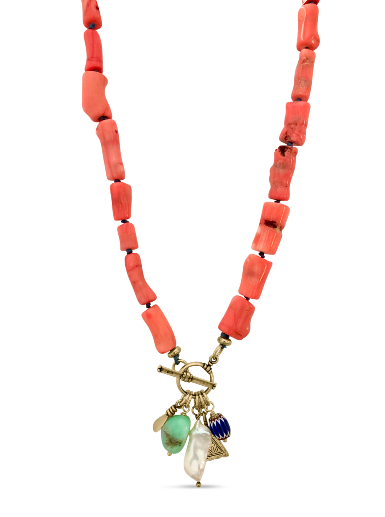 Coral Gathered Necklace