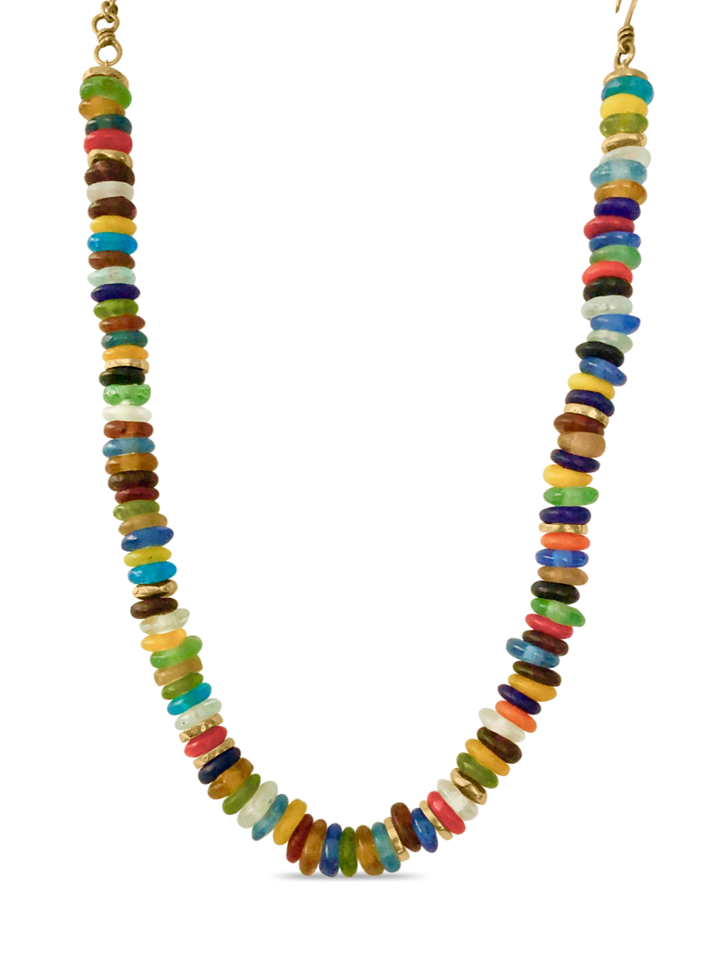 Rainbow African Krobo Trade Bead Necklace
