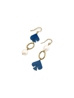 Gold Lapis & Pearl Earrings