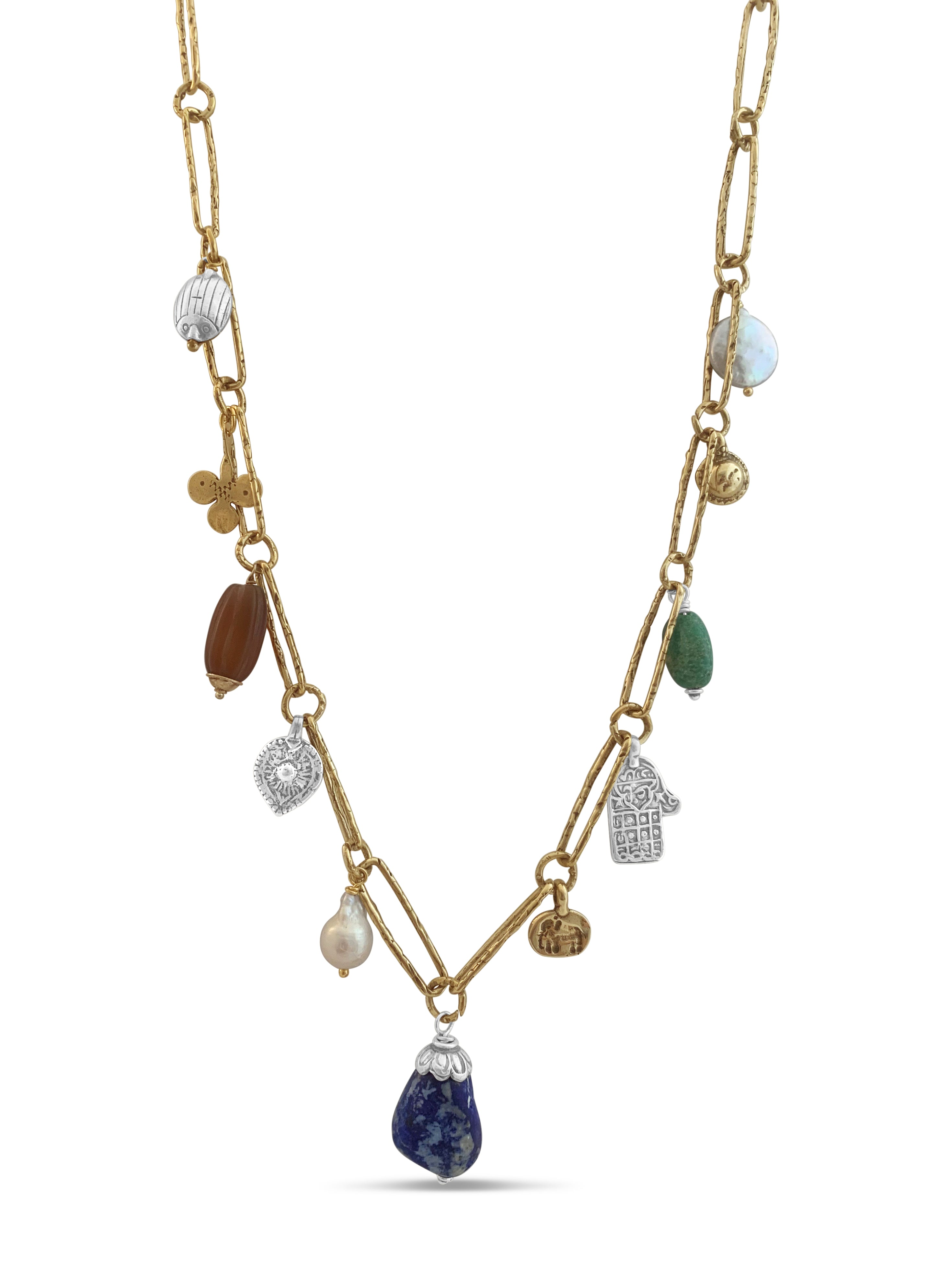 Lapis, Pearl and Carnelian Relic Necklace